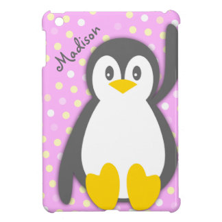 Kids girls penguin graphic name ipad mini case