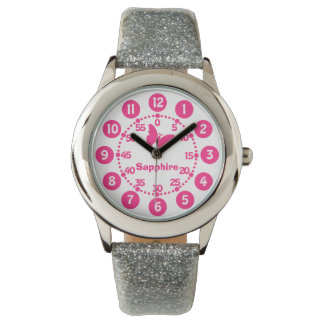 Kids girls pink & white add your name wrist watch