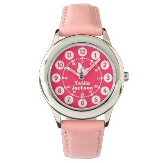 Kids girls pink & white full name wrist watch