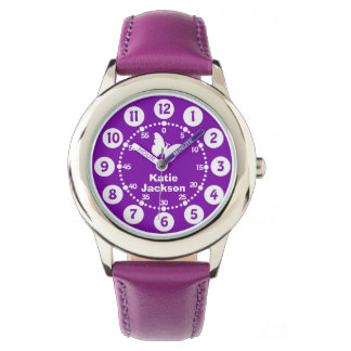 Kids girls purple & white full name wrist watch