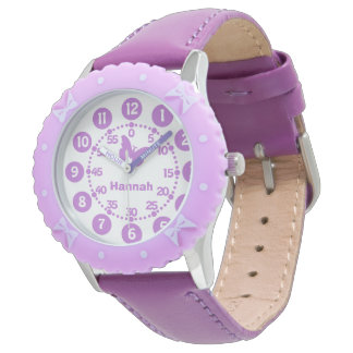 Kids girls purple & white personalized wrist watch