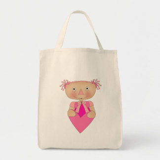 Kid's Girls Ragdoll Heart Tote Bag