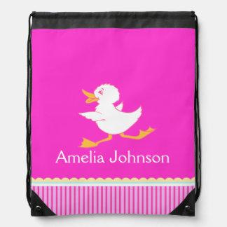 Kids girls sports swim pink name drawstring bag