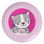 kids girly pink cute kitty custom name party plate