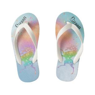 2ecfe8243 Kids Glitter Unicorn Personalized Flip flops