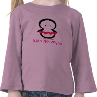 Kids go vegan - toddler T pink with penguin Tshirts