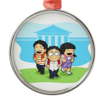 Kids Going Back to School Metal Ornament