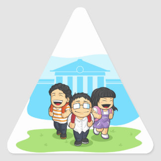 Kids Going Back to School Triangle Sticker