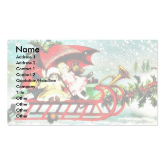 kids going by a cart top covered by santa umbrella Double-Sided standard business cards (Pack of 100)