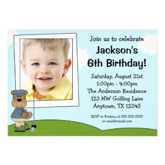 Kids Golf Bear Photo Birthday Party Invitations