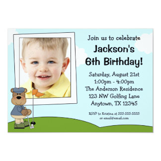 Kids Golf Bear Photo Birthday Party Invitations