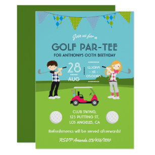 Kids Golf Theme Birthday Party Customized Invitation