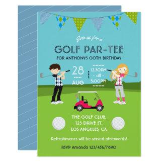 Kids Golf Theme Birthday Party Invitation