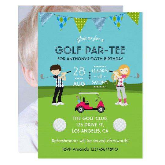 Kids Golf Theme Birthday Party Photo Invitation