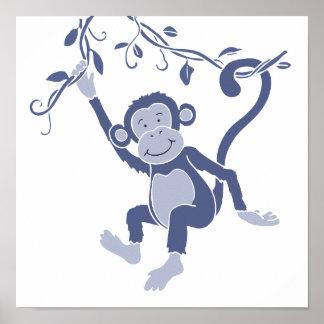 Kids graphic blue monkey poster