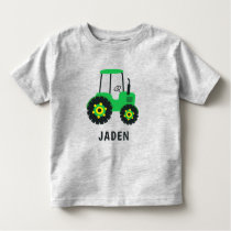 Kids Green Tractor Personalized Farm Vehicle Toddler T-shirt