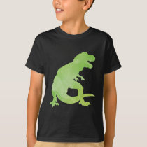 Kids Green Watercolor Dinosaur T-Rex T-Shirt