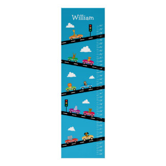 Kids Growth Chart - Animals, Cars and Numbers
