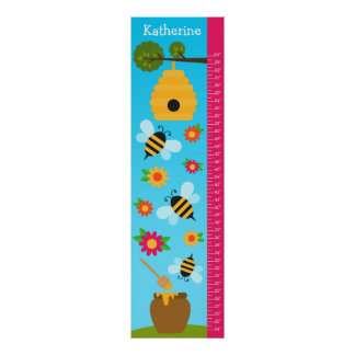 Kids Growth Chart - Bees and Flowers Poster