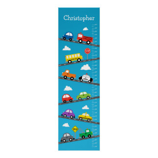 Kids Growth Chart - Cars and Trucks Posters
