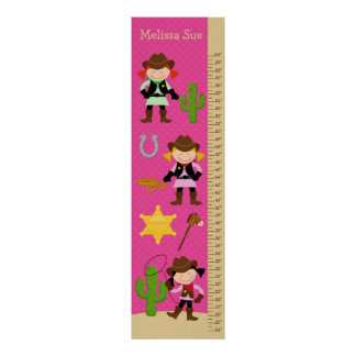 Kids Growth Chart - Cowgirl Posters