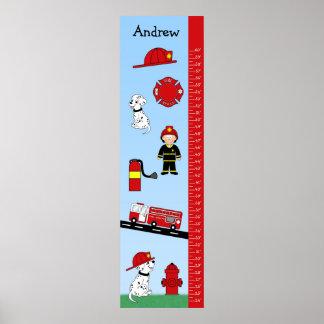 Kids Growth Chart  Fire Truck Poster