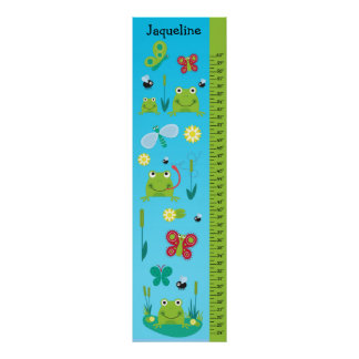 Kids Growth Chart - Frogs and Butterflies Poster