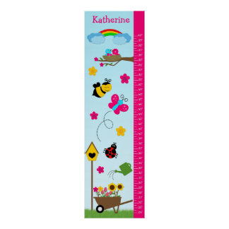 Kids Growth Chart - In the Garden Print
