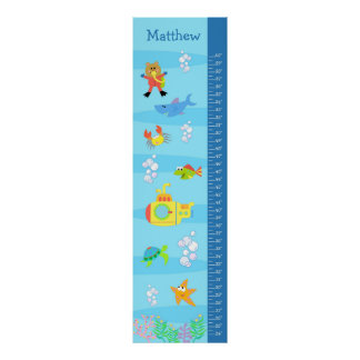 Kids Growth Chart - In the Sea Poster