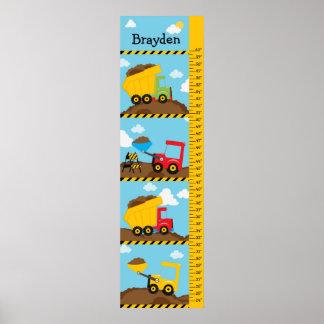 Kids Growth Construction Trucks Print