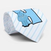 "Kids ""H"" Monogram | Blue Striped Hippo Tie"