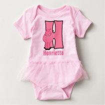 "Kids ""H"" Monogram | Pink Striped Hippo Baby Bodysuit"