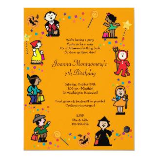 Kid's Halloween Birthday Costume Party Invitation