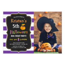 Kids Halloween Birthday Costume Party Photo Card