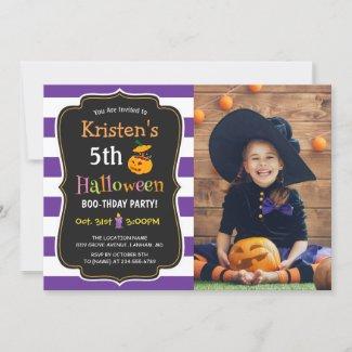 Kids Halloween Birthday Costume Party Photo Invitation