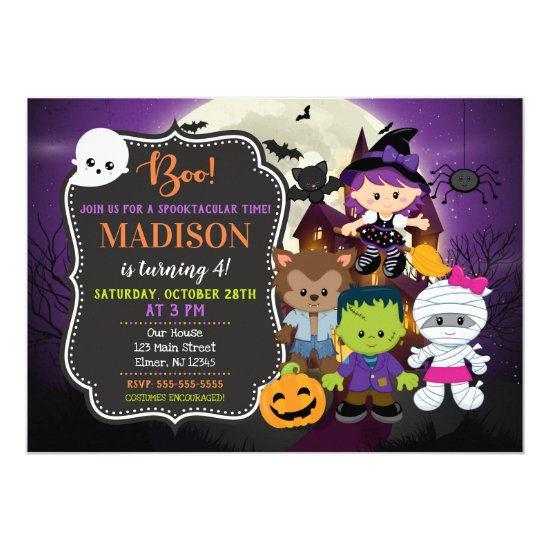 Kids Halloween Birthday Invitation