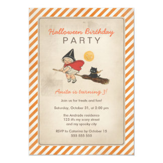 Kids Halloween Birthday Party Cute Witch Broom Cat Card