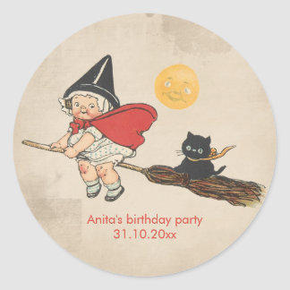 Kids Halloween Birthday Party Cute Witch Broom Cat Classic Round Sticker