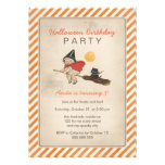 Kids Halloween Birthday Party Cute Witch Broom Cat Custom Invite