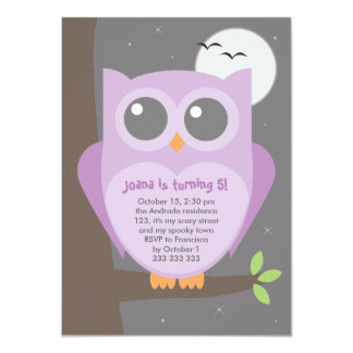 Kids Halloween Birthday Party Purple Owl Tree 4.5x6.25 Paper Invitation Card
