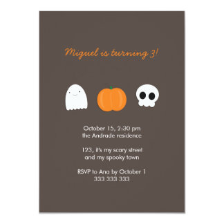 Kids Halloween Birthday Photo Skull Ghost Pumpkin Card