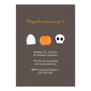 Halloween Themed Kids Halloween Birthday Photo Skull Ghost Pumpkin Card