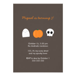 Kids Halloween Birthday Photo Skull Ghost Pumpkin Announcement