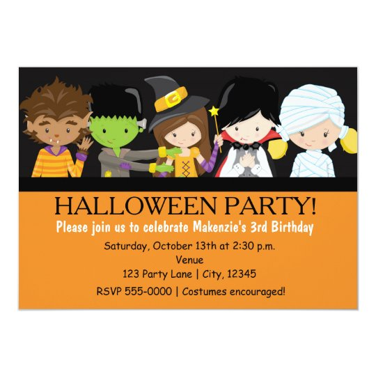 Kids Halloween Costume Birthday Party Invitation Zazzlecom