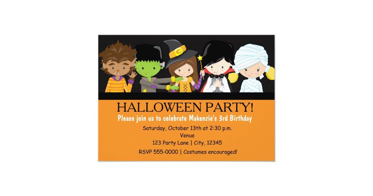Kids Halloween Costume Birthday Party Invitation | Zazzle.com