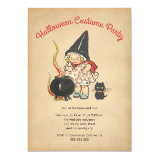 Kids Halloween Costume Party Cute Witchs Brew Cat 4.5x6.25 Paper Invitation Card