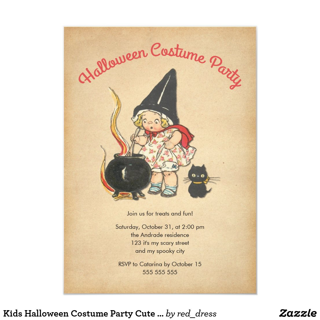 Kids Halloween Costume Party Cute Witchs Brew Cat Card