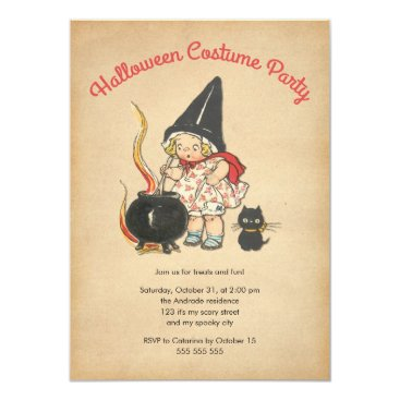 red_dress Kids Halloween Costume Party Cute Witchs Brew Cat Card