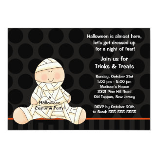 Kids Halloween Costume Party Invitation Cute Mummy
