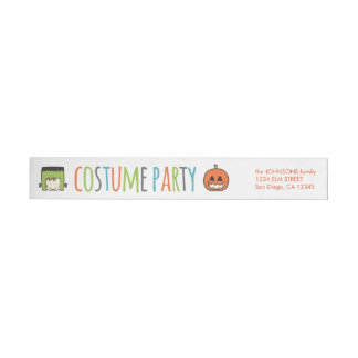 Kids Halloween Costume Party Invitation Wrap Around Label